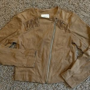 Justice faux suede jacket with fringe-size 12/14